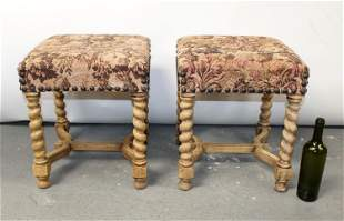 Pair of French bleached walnut barley twist stools