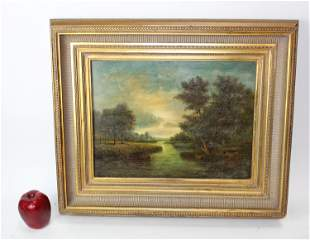 Oil on board painting pastoral landscape with river