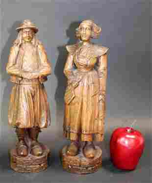 Pair of Antique French carved wooden Brittany figurines