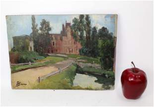 French oil on board depicting chateau scene