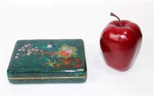 Cloisonne enamel lidded box with bird