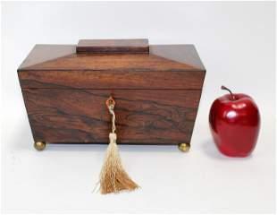 Antique English Rosewood tea caddy
