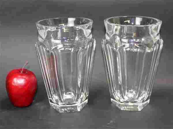 Pair of Baccarat crystal vases