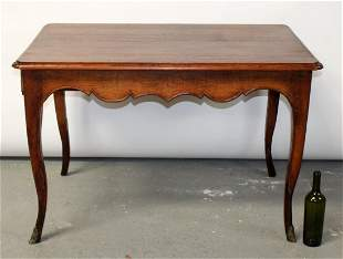 French Louis XV style oak side table with scalloped