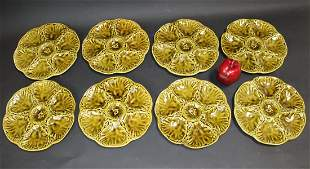 Lot of 8 French Gien oyster plates