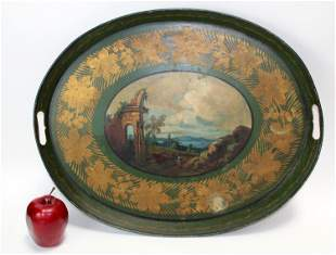 Antique Tole painted tray with landscape scene