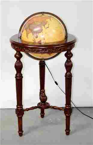 George Cram lighted library globe on mahogany stand