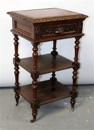 French 2 tier chevet in oak with inset marble top
