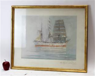 Marin-Marie (1901-1987) hand colored engraving of