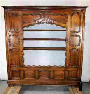 French Provincial carved open bookcase facade in oak