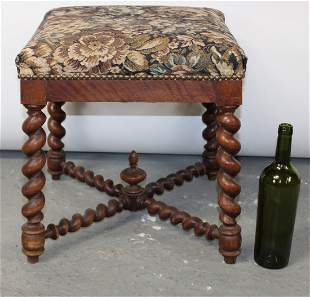 French foot stool with barley twist legs and