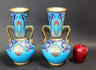Pair of hand painted porcelain vases
