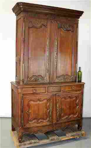 French Provincial buffet deux corps in walnut
