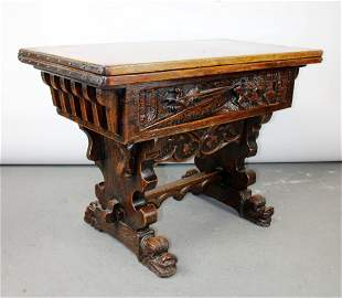 French flip top pub table with relief carved tavern