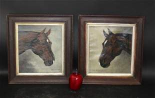 Lot of 2 English oil on canvas paintings of horses
