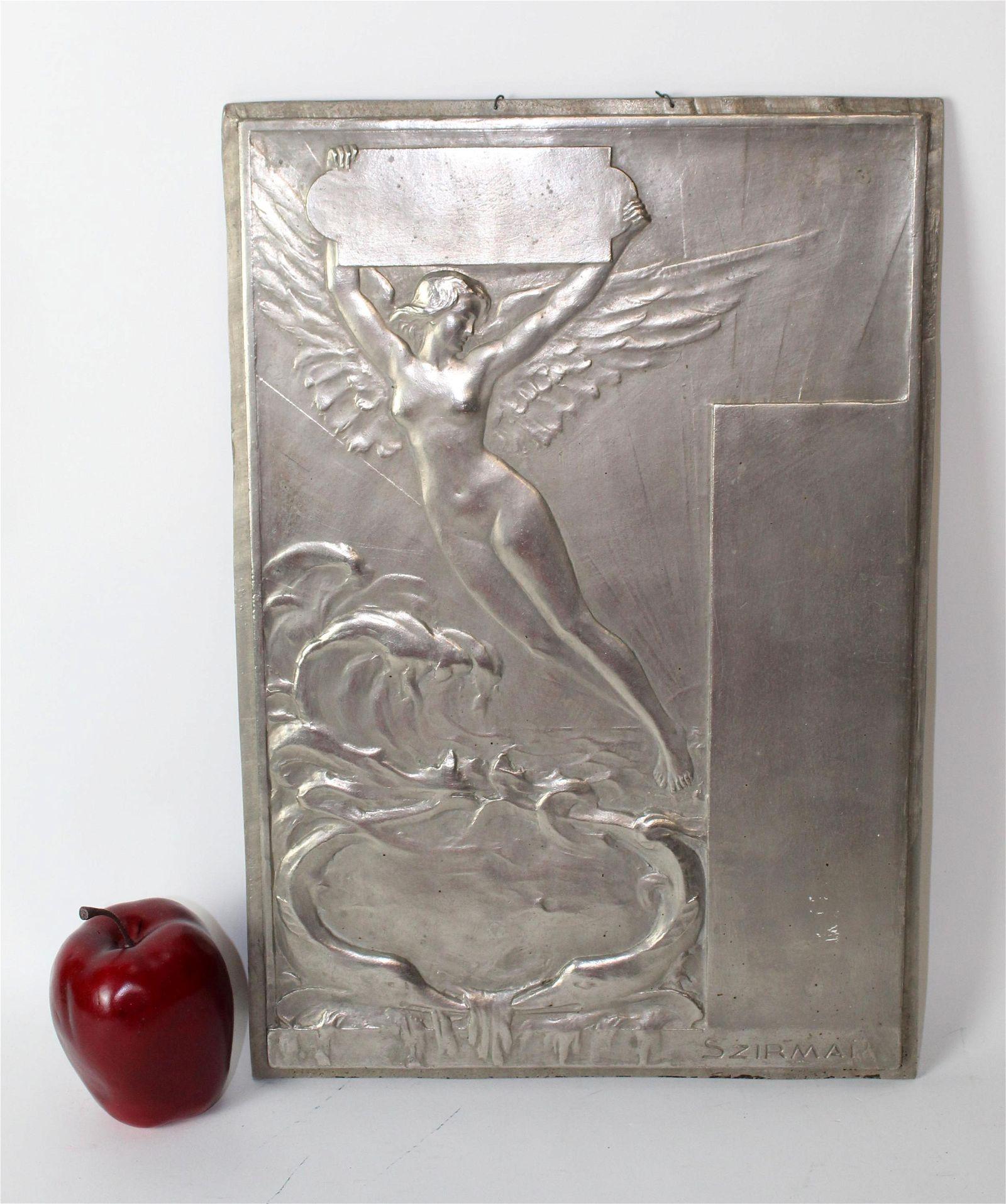 Toni Szirmai Art Nouveau nickel plated bronze plaque