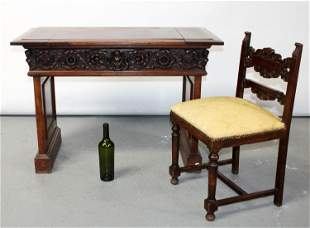 Italian carved walnut vanity with chair