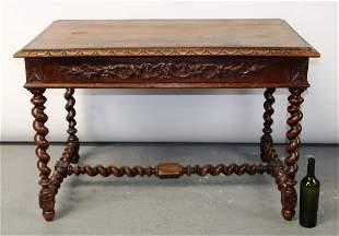 French bureau plat desk in oak with barley twist base