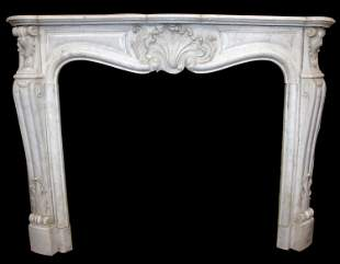French Louis XV carved white marble mantel