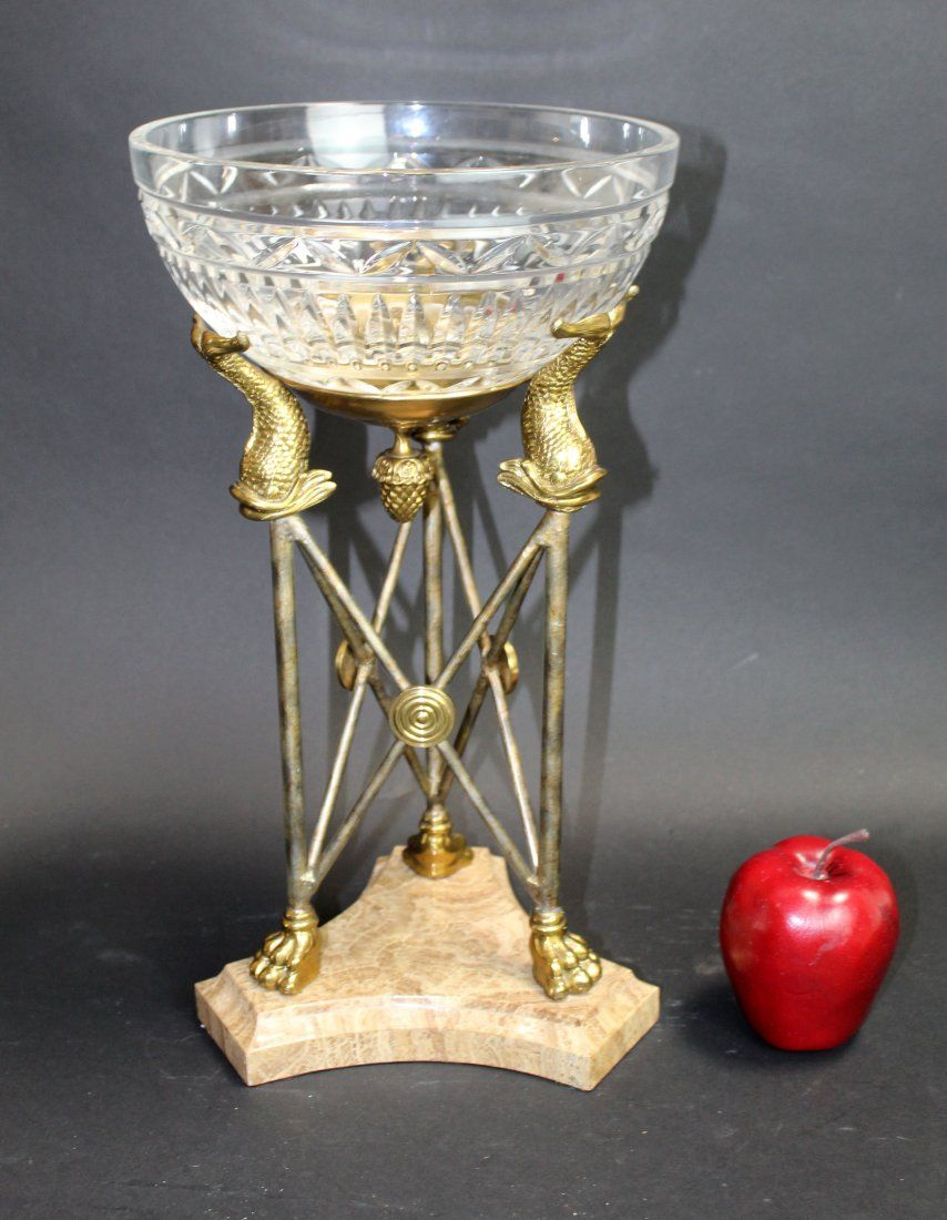 Maitland Smith crystal compote on bronze and iron stand