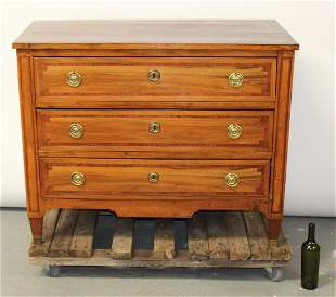French Louis XVI style 3 drawer commode in walnut