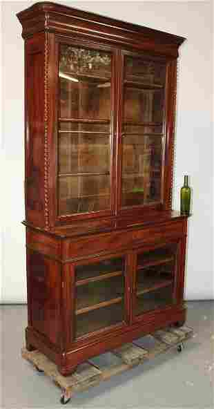 French Louis Philippe 2 over 2 door bookcase