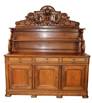 French buffet St Hubert in oak with carved deer head