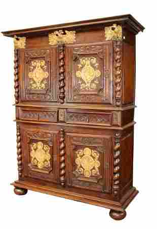 French Louis XIII 4 door bahut with carved gilt eagles