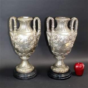 Pair nickel over bronze double handled urns