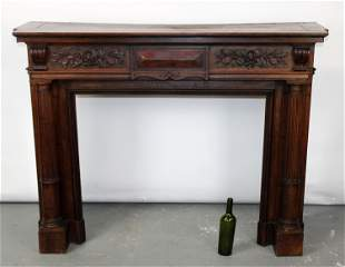 French walnut mantel with fluted columns