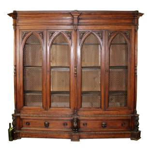 French Gothic Revival 4 door bookcase in oak