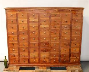 French multi drawer apothecary chest in teak with 63