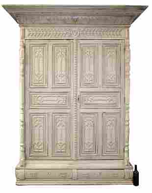 French Gothic Revival painted oak armoire