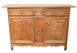 French Provincial buffet bas inlaid with compass rose