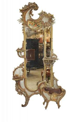 Venetian Rococo gilt and painted mirror with jardiniere