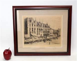 Colin Campbell Cooper etching Bruges. July 1896