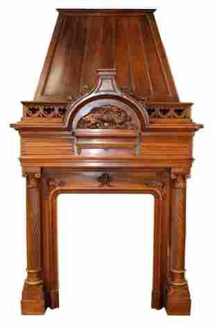 French walnut fireplace mantel with mansard hood