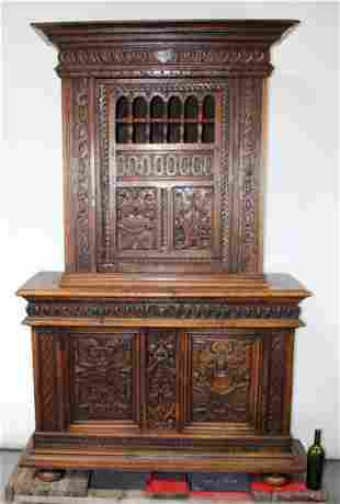 French buffet deux corps in carved oak. 19th century.