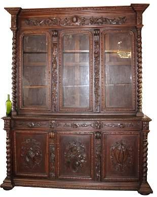 French Louis XIII 3 door bookcase in oak