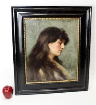 Christian Pieper oil on canvas female portrait