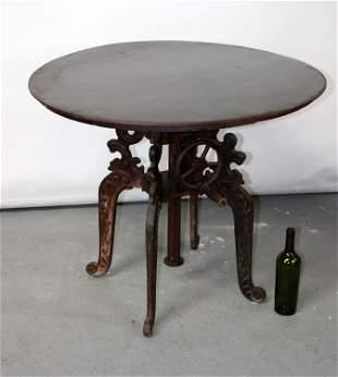 Industrial iron crank adjustable round table