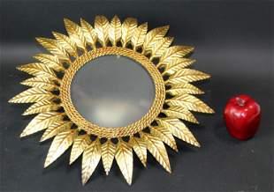 French mid century gilt metal sunburst sconce