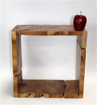 Modern burled wood wall mount cube shelf