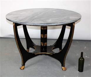Art Deco style ebony & gold foyer table with marble top