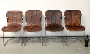 Set of 4 French mid century leather & chrome chairs