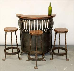 French curved front bar in pine with 3 stools
