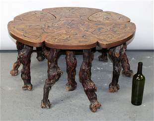French burled garden table with 3 stools