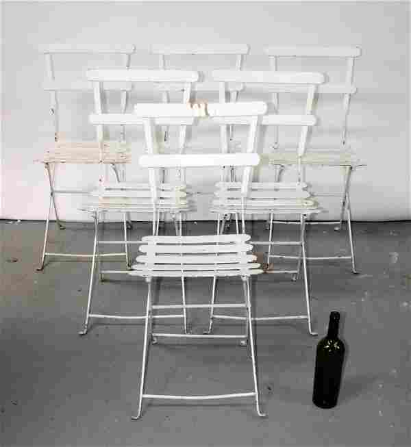Set of 6 French painted iron garden or park chairs