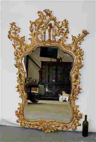 Chinese Chippendale gilt beveled mirror