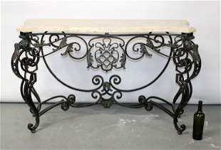 Maitland Smith scrolled iron console table